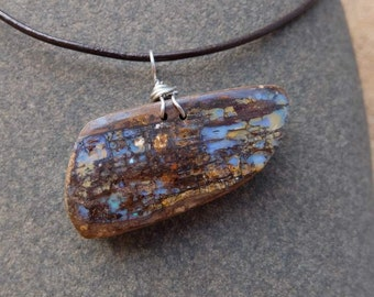 Boulder opal pendant necklace  - handmade in Australia - opaliced wood - fossilized wood