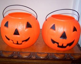 Orange Pumpkins, Pumpkin Blow Mold, Two Candy Buckets, Plastic Blow Mold, Vintage, Halloween Decoration, Trick or Treat, Halloween Pumpkin