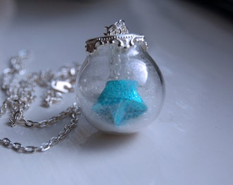 Origami Star Necklace/Pendant  ~Mini Glass Terraniun/Globe ~Lucky Charm ~Good Luck ~Origami Jewelery/Jewelry ~Snowglobe