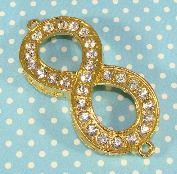 """2 Gold Infinity Charms Connectors Rhinestone Bracelet Bars Crystal Large 2"""" (44857) Jewelry Supplies Component Jewelry Supplies"""