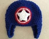 Crochet Captain America Inspired Hat, Beanie, Ear Flaps, Halloween Costume, Avengers, Patriotic Red White Blue, Soft Thick Warm JE699B2