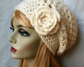SALE Crochet Slouchy Beret, French Beret, Womens Hat, Off White Cream, Pick Color, Chunky, Warm, Teens, Birthday Gifts for Her JE505BTF2