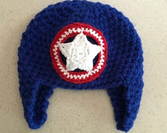 Crochet Captain America Inspired Hat, Beanie, Ear Flaps, Halloween Costume, Avengers, Patriotic Red White Blue, Soft Thick Warm JE699B2