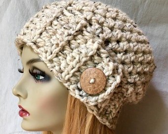 Crochet Womens Hat, Slouchy Beret, Oatmeal, Soft Chunky Wool, Coconut Button, Warm, Teens, Gift for her, Winter, Ski Hat JE808B10