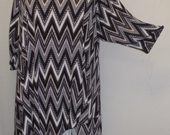Plus Size Tunic, Coco and Juan, Plus Size Top, Asymmetric Tunic Top, Black and Gray Zig Zag Traveler Knit Size 2 (fits 3X,4X) Bust 60 inches
