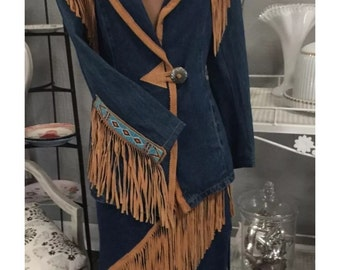 Vintage Frontier Collections Jacket & Skirt Western Beaded with Leather Fringe