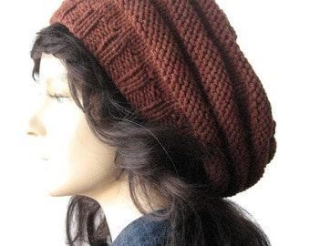 Rustic Heather Hand Knit Hat, Knit Slouchy Beanie, Beehive Beret Vegan Hat, Knit Beret, Vegan Knits