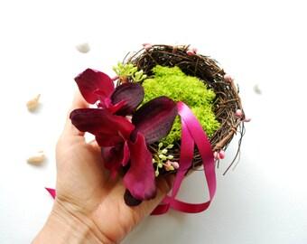 Dark Ruby Burgundy Pink Orchids Ring Bearer Pillow, Beach Wedding Party, Engagement Ring Holder, Beach Hawaiian Weddings Cake Topper