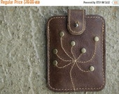 Business Card Holder Studded Leather Case Credit Card  Wallet Case Chestnut Brown Christmas Gift Guide