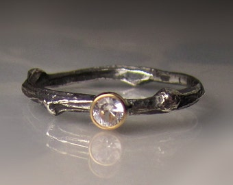 White Sapphire Twig Ring,  Oxidized Sterling Silver and 14k Yelllow Gold, Sapphire Engagement Ring, Sapphire Promise Ring