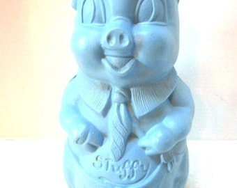 Cute Vintage Piggy Bank, Stuffy the Pig, Banker, Blue Hard Plastic Detailed Texture, Cap Tie, Large Cork, Boy Bank, Savings, Money Blow Mold