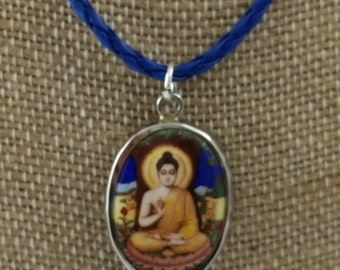 "Buddha enamel 1"" pendant on 16"" vegan cord"