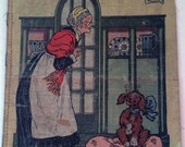1913 Oil Cloth Linen Storybook M.A. Donohue & Co. Chicago Old Mother Hubbard