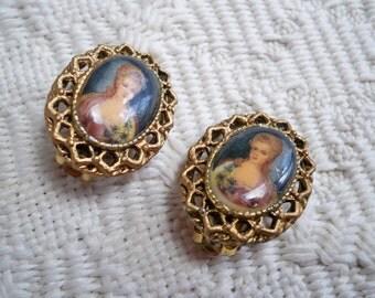 Vintage Jewelry Earrings Clip On Earrings Costume Jewelry Lady Portrait Earrings