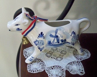 Vintage Home Serving Pitcher Hand Painted  Blue and White Ceramic Cow Collectible