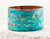 Turquoise Accessories Rainwheel Cuff Bracelet - Leather Jewelry Wrist Cuffs - Nature Woodland Earthy