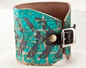 Etsy Love Leather Jewelry Cuff - Comfortable Inspired Bracelet 2016 Trends - Sweet Casual Painted Turquoise Everyday Accessories