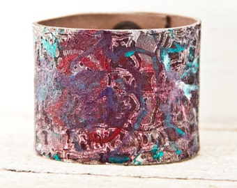 Handmade Jewelry Leather Cuff - Painted Bracelet Leather Wristband - Women's Leather Cuffs