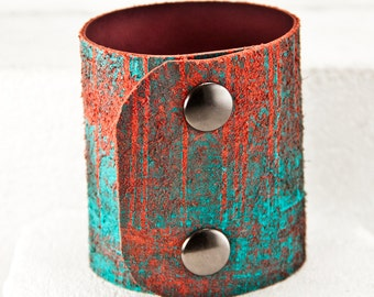 Turquoise Bracelet Teal Cuffs Jewelry - Painted Leather Wrist Cuff - Unique Gifts - Rainwheel Art