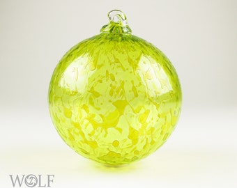 Blown Glass Christmas Ornament Yellow Gold Ice
