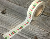 Washi Tape - 15mm - Red and Green Christmas Trees on White - Deco Paper Tape No. 1078