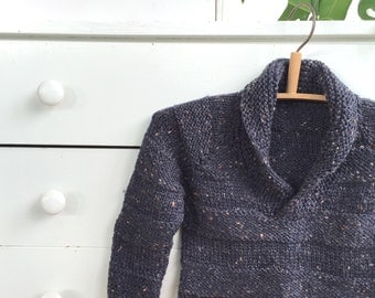 Do I Have To Sit Quietly Sweater - Knitted Pullover  - Shawl Collar Woolly Jumper - Size 1