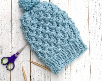 Chunky Handknit Pom Pom Hat,  Sparkly blue cables, women's knitted beanie,  women's crocheted hat, Chunky cables winter hat with pom pom