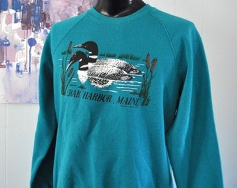 Stained Vintage Duck Sweatshirt Bar Harbor Maine New England Science Nature Teal Green LARGE