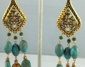 """Handcrafted Egyptian Bohemian 4 1/2"""" Brass Chandelier Egyptian motif Earrings OOAK Free Ship"""