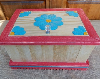 Treasure Box  ~  Large Reclaimed Wood Jewelry Box  ~  Large Reclaimed Wood Treasure Box  ~ Large Tin Punch Flowers Jewelry Box