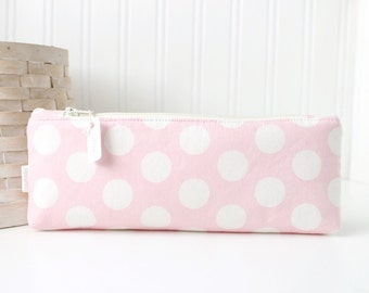 Pink Pencil Case Pink and White Polka Dots Cute Pencil Case Long Zipper Pouch