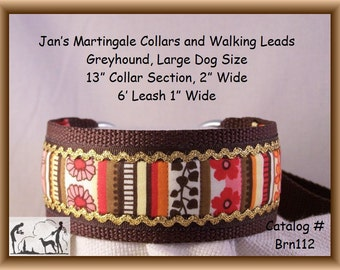 Jan's Martingales, Brown Walking Lead, Collar and Lead Combination, Greyhound, Large Dog Size, Brn112