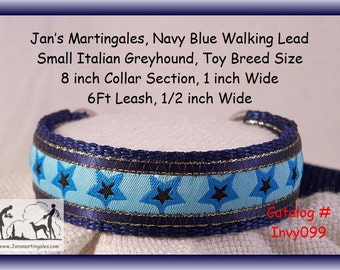 """Jan's Martingales, Navy Blue Dog Collar, Leash Combination Walking Lead,  Italian Greyhound, Toy Dog Size 8 """" Collar Section, Invy099"""