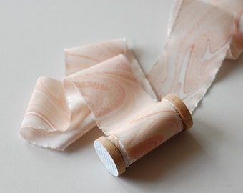 Marbled Silk Ribbon in Shell Pink