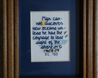Discover New Oceans - Inspirational Cross Stitch Picture - Wall Decor