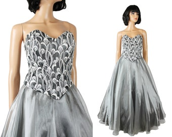 Vintage Prom Dress XS 80s 90s Silver Chiffon Lace Long Strapless Ball Gown Shiny Free US Shipping