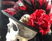 Ancient Crimson Skull, Day of the Dead mask and top hat set