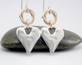 Silver Heart Earrings, Small Silver Earrings, Mixed Metal Earrings, Silver Hearts, Heart Gift, Gold and Silver Earring, Silver Drop Earrings