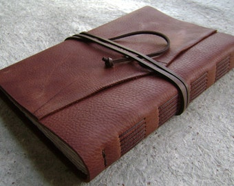 "Rugged Leather Journal, 6""x 9"", rust brown journal, handmade journal by Dancing Grey Studio(2070)"