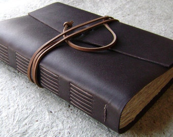 "Large Leather Journal, 288 pages, 6""x 9"", dark brown, handmade journal by Dancing Grey Studio(1927)"