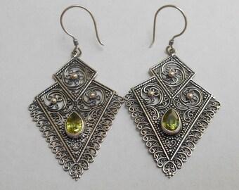 Triangle shape sterling Silver green peridot gemstones dangle Earrings / 2.25 inch long / silver 925 /  Balinese handmade jewelry