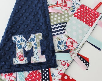 taggie blanket, taggie, custom, personalized, baby, girl, gift, floral, flowers, polka dots, minky, ribbon, sensory, lovey, navy, red, pink
