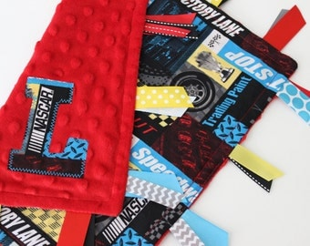 Taggie blanket, Personalized, NASCAR, custom, baby, boy, gift, minky, ribbon, satin, silky, lovey, race car