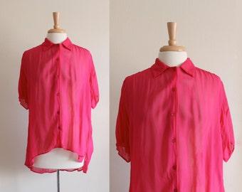 Vintage 1980s Hot Pink Crepe Chiffon Asymmetrical Top