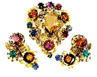 Austria Signed Topaz Multi Color Floral Brooch and Earring Set