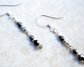 Long Swarovski Crystal & Freshwater Pearl Dangle Earrings