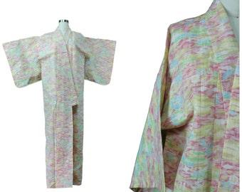 Festival Kimono Vintage / Authentic Vintage Kimono / Vintage Japanese / Spring Summer Pastel Kimono / Festival Ikat Print Kimono