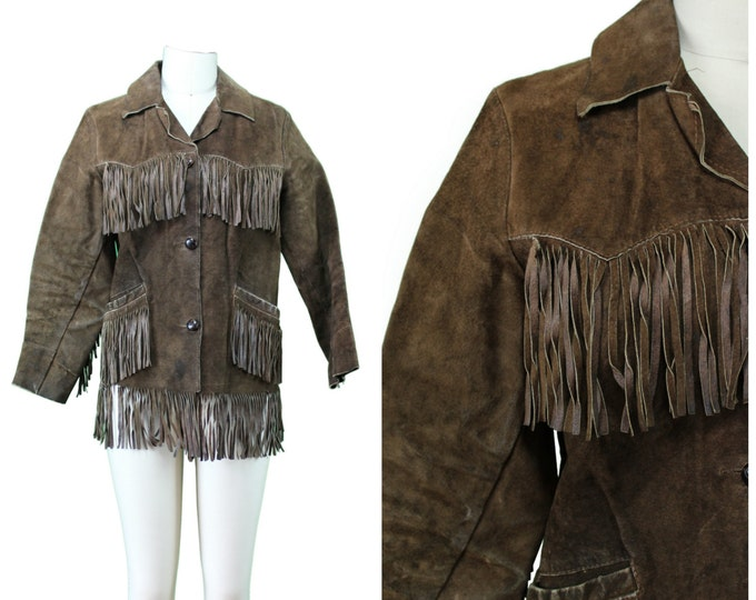 Fringe Leather Jacket / Boho Hippie Fringe Jacket / Easy Rider Fringe Suede Jacket / Brown Leather Fringe Jacket / Vintage Fringe Coat