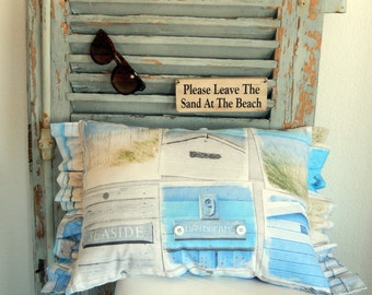 Beautiful Beachy Brocante Blue Pillow for Beach Bums
