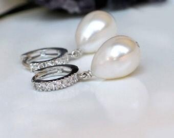 Teardrop Pearl Earrings | White Freshwater Drop Pearls | CZ Pavé Sterling Silver Huggie Hoops | Bridal Pearl Jewelry | Gift Ready to Ship